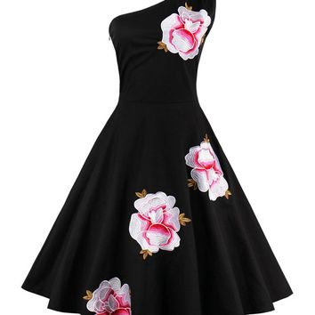 Casual Floral Embroidery One Shoulder Skater Dress