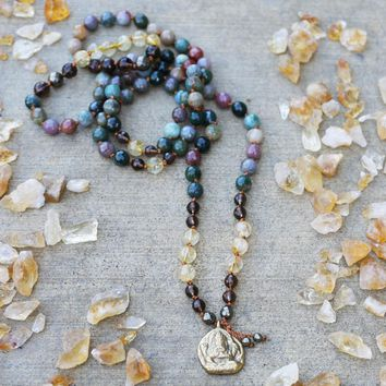 Jasper and Citrine Hand Knotted Ganesh Mala Necklace