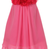 Fuchsia Pink Chiffon Shift Dress with 2 Tier Hem & Floral Mesh Neckline (Girls 2T - Size 14)
