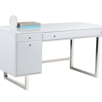 CAMARILLA HIGH GLOSS WHITE FINISH WITH STAINLESS STEEL BASE DESK