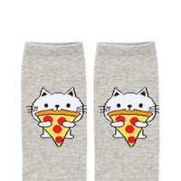 Cat Eating Pizza Ankle Socks