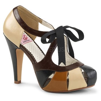 Pin Up Couture Retro Bettie Tie Top Tan Heels