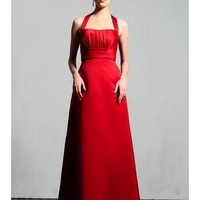 Chic Satin Halter Square Neckline A-Line Bridesmaid Dress With A Pleated Empire Waist Bodice SB2186