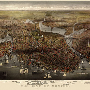 Antique Map of Boston, Massachusetts  (1873) by Currier and Ives - Archival Reproduction