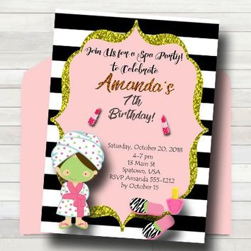 Spa Party Invitation - Spa Birthday Party Invite - Glamour Party Invitation - Manicure Party - PRINTABLE - Girl Birthday Party Invitation