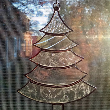 Christmas Tree Ornament - Stained Glass Tree Suncatcher - Clear Glass - Holiday Decor - Christmas Gift - Stocking Stuffer