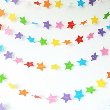 Rainbow star garland, star garland, rainbow garland, star paper garland, rainbow paper garland, wedding garland, party garland, party decor