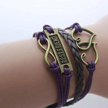 Infinity, BEST FRIEND and Two Hearts Pendant Bracelet
