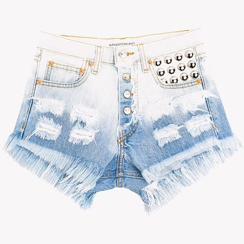 450 Stone Ombre Studded High Waist Shorts