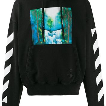 Green and Blue Waterfall Graphic Hoodie by OFF-WHITE