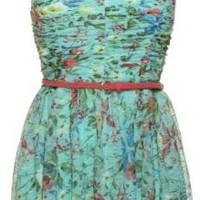 TRIXXI Floral Lace Strapless Sweetheart Belted Stretch Dress [86B6704YLI]