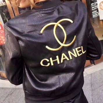 DCCKLM3 CHANEL Embroidery Leather Long Sleeve Cardigan Jacket Coat