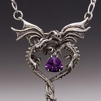 Silver Dragon Heart Pendant with Amethyst