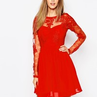 Missguided Premium Lace Long Sleeve Skater Dress