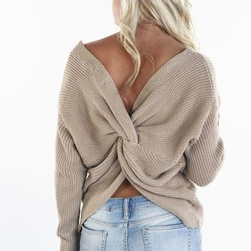 Break The Ice Taupe Twist Back Sweater