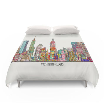 Society6 Indianapolis Skyline Duvet Cover
