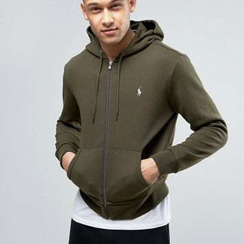 Polo Ralph Lauren Zip Through Hoodie in Olive at asos.com