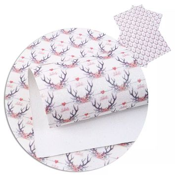 Pink floral GLITTER antlers faux leather fabric vinyl sheet