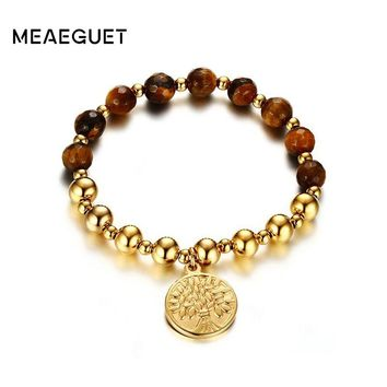 Meaeguet Women's Yoga Bracelets Stainless Steel Beaded Stretch Tree of Life Bracelet Lucky Charms Jewelry