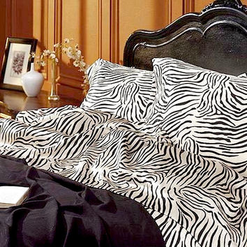 Luxury Zebra Animal Print Satin Sheet Set
