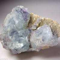 Beautiful Blue Fluorite with Purple Phantoms on Matrix.  Third Eye Chakra.  Crystal Healing / Mineral Specimen.