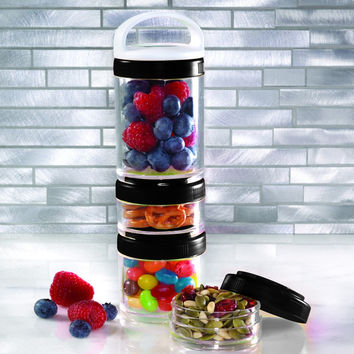 Stackable Storage Containers Set of 4, Stack the perfect snack! Smart and simple snacking
