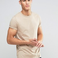 ASOS T-Shirt With Crew Neck And Roll Sleeve In Beige at asos.com