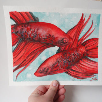Watercolor painting of Crimson Fighting Fish - Fish Painting - Watercolour Art - Samiamart