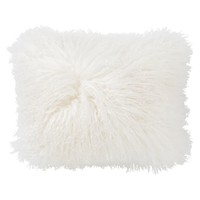 Mongolian Faux Fur Pillow Cover, 12x16, White