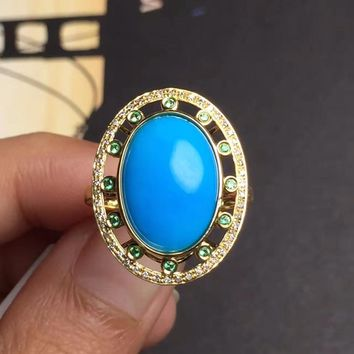 Fine Jewelry real G18k Rose Gold 18K Solid Gold 100% Natural Turquoise Gemstones Gold Diamonds Female Casual Sporty Rings
