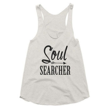 Soul Searcher Racerback Tank, workout, yoga, top, gypsy, boho, hippie, arrow, spiritual, gym shirt, vacation