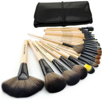 Makeup Brush Set with Black Pouch Bag
