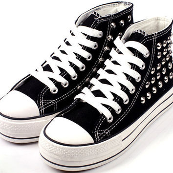 LOWTOP Or HIGHTOP Black Studded Converse Inspired Sneakers (Unisex)