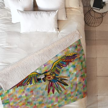 Sharon Turner Harlequin Parrot Fleece Throw Blanket