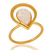 18K Gold Plated Rainbow Moonstone Sterling Silver Art Deco Style Designer Ring