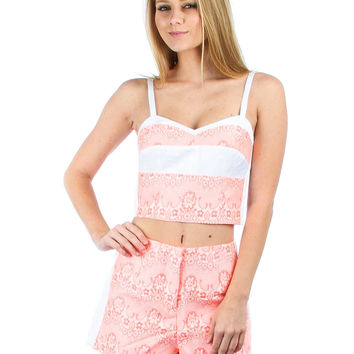 PINK AND WHITE FLORAL PRINTED MATCHING CROP TOP AND SHORTS SET