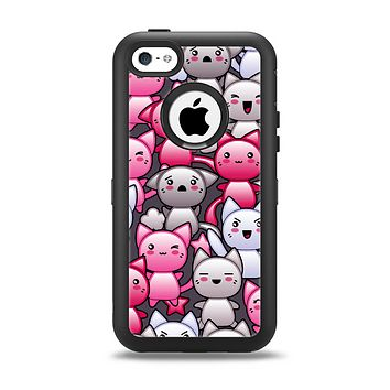 The Cute Abstract Kittens Apple iPhone 5c Otterbox Defender Case Skin Set