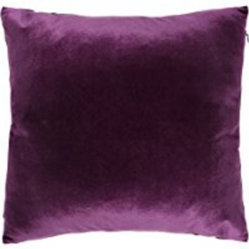 "Square Solid Velvet Decorative Throw Pillow, 18"" x 18"", Purple, Set of 2"