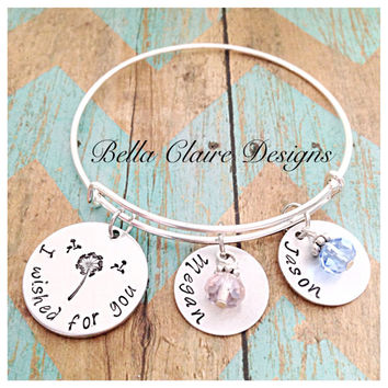 I wished for you bangle Hand Stamped Dandelion Fluff bangle Dandelion seed bangle children's names bangle bracelet