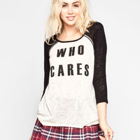 H.I.P. Who Cares Womens Baseball Tee Black/White  In Sizes