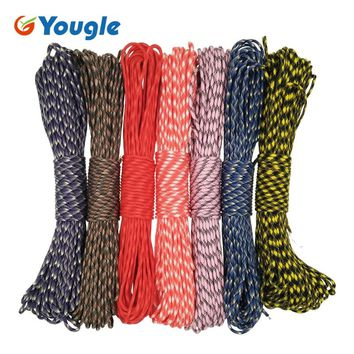 YOUGLE 100 FT 550 Paracord Parachute Cord 7 Strands Lanyard Rope Tent wind rope Close line 7 Colors 32-38