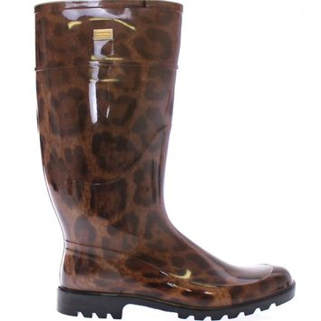 Brown Leopard Rubber Rain Boots