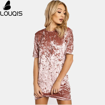Louqis  Elegant Dress Spring Summer Ladies Round Neck Short Sleeve Dresses Designer Dress Women Crushed Velvet Party Dress
