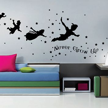 ik2801 Wall Decal Sticker Peter Pan fairy tale of Big Ben room children's bedroom