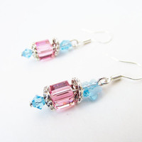 Crystal Star Earrings - Pink Crystal Cube Earrings - Swarovski Crystal Elements - Sterling Silver Earrings - Blue Star - Bead Flower Earring