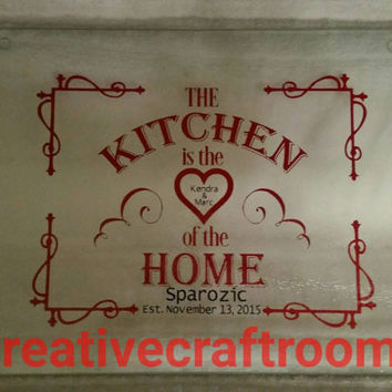 Personalized Kitchen is the Heart of Home, Glass Cutting Board, Counter saver, Hot plate, Wedding, Anniversary, Gift, Kitchen decoration
