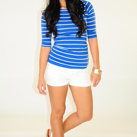 Spring Me To Life Top: Blue/White