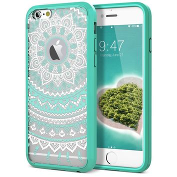"iPhone 6 Case, iPhone 6S Case, SmartLegend Clear Hybrid Case with Henna Mandala Floral Design Transparent Hard Plastic Back + Soft TPU Bumper Cover for iPhone 6/6S 4.7"" - Mint"