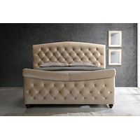 Diamond Queen Sleigh Bed Golden Beige Velvet