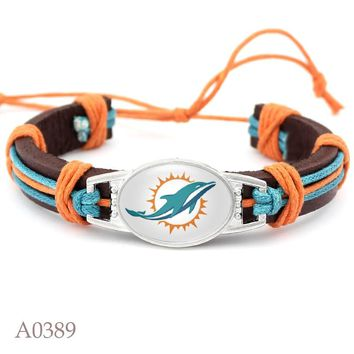 New Style Miami Dolphins Football Team Adjustable Leather Bracelet For Fans Gift 10pcs/lot